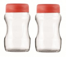 Roxx Curvy Jar Set, 700ml, Set of 2, Red