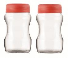 Roxx Curvy Jar Set, 700ml, Set of 2, Red