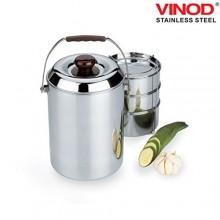 Vinod Steel Deluxe Hot Tiffin 3 Compartments
